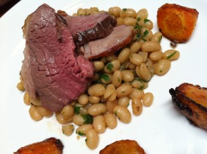 Lamb roast with flageolets
